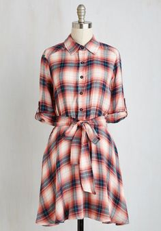 Ambient Afternoon Dress - Multi, Red, Plaid, Print, Casual, A-line, Shirt Dress, 3/4 Sleeve, Fall, Woven, Good, Mid-length