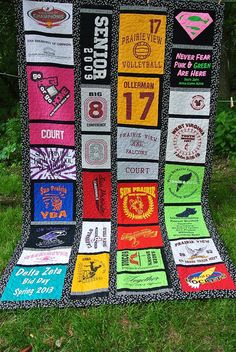T Shirt Quilts - made one of these a long time ago of all my high school shirts. If you can sew straight lines with the sewing machine, you can probably handle this one.