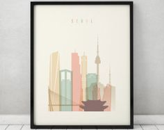 Seoul print, Poster, Wall art, Seoul skyline, South Korea cityscape, City poster, Typography art, Home Decor, Digital Print ArtPrintsVicky.