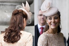 The dusky pink hue of the Duchess' Alexander McQueen dress perfectly complemented her tanned skin as she attended  the Queen's Diamond Jubilee lunch.    Perching on top of her half-up, half down curls - similar to the hairstyle she wore for her wedding - was a floral netted Jane Taylor fascinator in the same shade. Looking perfectly regal, Kate put a touch of pink into her usual makeup routine with pearlescent lips and a rose blush