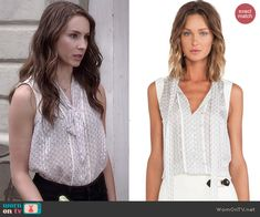 Spencer's grey bow front top on Pretty Little Liars.  Outfit Details: http://wornontv.net/45159/ #PLL