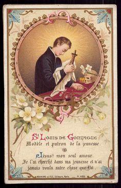ST ALOYSIUS GONZAGA MODEL & PATRON OF YOUTH Antique w/ GOLD HOLY CARD