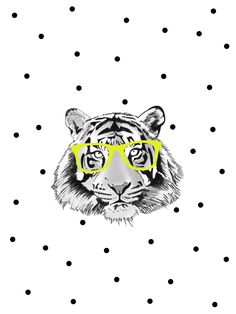 """POSTER """"TIGER WITH GLASSES"""" 12 X 16.5 $20 Brighten up any room with this super…"""