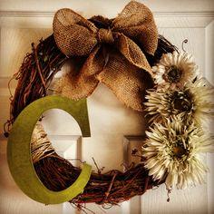 Easy DIY wreath! http://asweetandspicyblog.blogspot.com/2013/05/diy-personalized-wreath.html?m=1