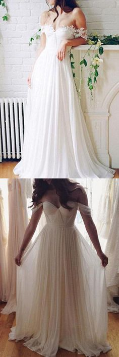 Chiffon White Off shoulder Beach Wedding Dress, Cheap Long prom dresses,PW116 #Beachweddingdress