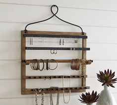 Shop wall-mounted jewelry hanger from Pottery Barn. Our furniture, home decor and accessories collections feature wall-mounted jewelry hanger in quality materials and classic styles. Wall Mount Jewelry Organizer, Jewelry Hanger, Jewelry Organization, Diy Jewelry, Jewelry Box, Hanging Jewelry, Jewelry Tree, Girls Jewelry, Modern Jewelry