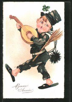 Alte Ansichtskarte: AK Bonne Année, kleiner Schornsteinfeger mit Laute