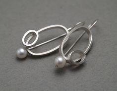 ES362  Oval & Pearl earrings - sterling silver, pearls.  $385