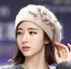 Beads flower beret hat for women soft wool hats winter wear