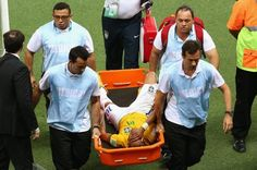 """""""Neymar OUT of World Cup with broken bone in his back after suffering injury in Brazil's quarter""""  I wish his injury get well perfectly!!!"""