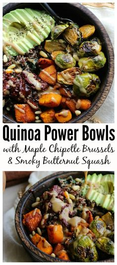 Quinoa Power Bowls with Maple Chipotle Brussels and Smoky Butternut Squash. A delicious, gluten-free, vegetarian meal packed with fiber, protein and flavor | dishingouthealth.com