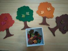 Blaadjes sorteren volgens kleur. Blaadjes komen van de Action, bomen zijn uit MDF gemaakt *liestr*