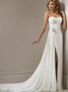 Sweetheart Chiffon Chapel Train Sheath/Column Wedding Dress(AUSTBWD1008) at dressestylish