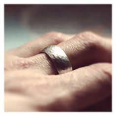 Sterling Silver Low Dome Classic Men's Wedding Ring 8mm wide - Hammered, Rustic, Planished Textured - Also available in Gold or Palladium. $110.00, via Etsy.