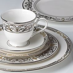Crafted of Lenox white bone china accented with precious platinum and 24 karat goldIncludes dinner plate, salad plate, butter plate, cup, saucer.Dishwasher-safeMade in AmericaAccents in both platinum and 24 karat gold Fine China Dinnerware, Dinnerware Sets, Terracotta, Everyday Table Decor, Christmas China, Lenox China, China Sets, Elegant Dining, Coffee Set