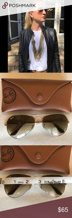 Ray Ban Aviator Sunglasses Gently used Ray-Ban aviators in gold and brown. Retail value is $150. These were a gift and I only wore them a few times. They are super cute and super stylish, they are in good condition with a couple very very minor scratches, I really had to struggle to even find the scratches I'm just trying to be as accurate as possible in my description. Ray-Ban Accessories Sunglasses