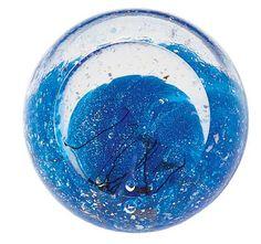 Hand Blown Glass Paperweight - Neptune