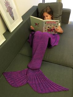 Creative Flounced Design Knitted Mermaid Tail Blanket in Purple | Sammydress.com
