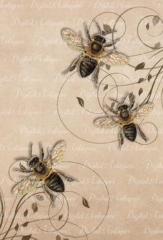 Vintage Bees Printable Images Digital Download by DigitalAntiques