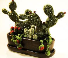 Cacti arrangement   crochet  in brown pot