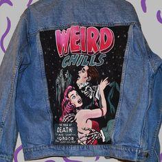 Weird Chills Hand Painted Denim Jacket от PurpleTearsGirlsShop