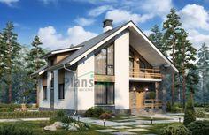 Проект двухэтажного загородного дома в стиле шале с высокими окнами и балконом над крыльцом
