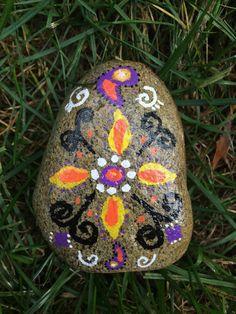 Mandala Design Painted on a Beach Stone