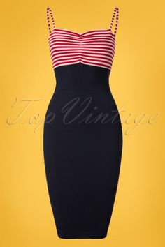 Bettie Page Clothing All Aboard Red White Sailor Pencil Dress 100 27 24984 20180328 0002W