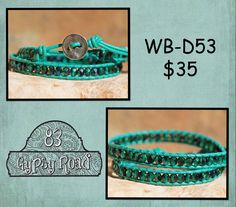 WB-D53 beaded double wrap bracelet - turquoise leather with blue-green fire polish faceted beads by 83GypsyRoad on Etsy