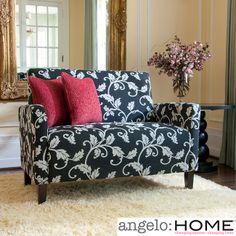 Sutton Charcoal Black & White Vine Loveseat. Just ordered this for our reading nook upstairs!