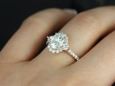 Bridgette 8x6mm 14kt Rose Gold Oval FB Moissanite and Diamonds Halo Engagement…