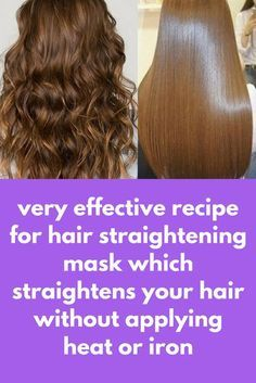 very effective recipe for hair straightening mask which straightens your hair without applying heat Beauty Tips For Hair, Hair Care Tips, Hair Tips, Coconut Milk Hair Mask, Coconut Oil, Nano Titanium, Hair Frizz, Hair Remedies For Growth, Hair Growth