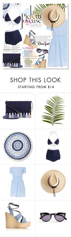 """""""RoseGal - bikini"""" by farahhind ❤ liked on Polyvore featuring Rebecca Minkoff, Pier 1 Imports, The Beach People, Mina, Ryan Roche, Yves Saint Laurent and House of Harlow 1960"""