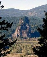 Beacon Rock, on the Columbia River. Lewis and Clark camped here on the way to the Pacific, back in 1805. Fantastic views. Would have to be part of a weekend trip to Portland.