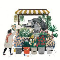Liekeland / Lieke van der Vorst - illustration of bear as flower shop vendor Art And Illustration, Illustrations And Posters, Plakat Design, Art Design, Art Inspo, Painting & Drawing, Illustrators, Artwork, Art Drawings