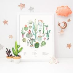 A colorful arrangement of our favorite cacti. Bring a little bit of color into any room with this playful print. This print also makes a great gift for any cactus or succulent lover (especially when paired with our Succulent Wheel Art Print). We strive to create designs for home decor that are Nursery Wall Decals, Nursery Art, Nursery Decor, Bedroom Decor, Nursery Themes, Modern Vintage Decor, Cactus Art, Cactus Decor, Gallery Wall Layout