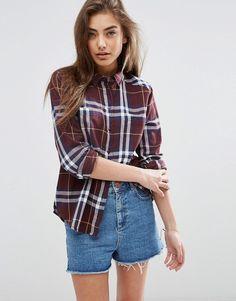 Image 1 ofASOS Boyfriend Shirt in Oxblood Check