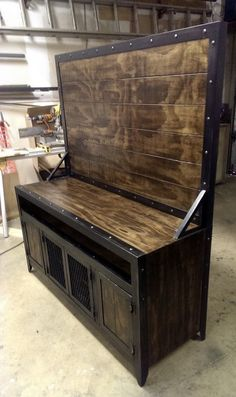 industrial steel and wood media console/cabinet with by IndustEvo