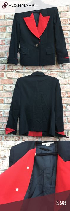 "Christian Dior Black Blazer Christian Dior Black Blazer with red details. One single button in the middle. Shell made of pure wool. Measures from pit to pit 19""/ waist 17""/ length 27"". Christian Dior Jackets & Coats Blazers"
