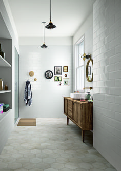 Bathroom inspiration - Bathroom flooring: ceramic and porcelain stoneware Bathroom Floor Tiles, Wall And Floor Tiles, Laundry In Bathroom, Bathroom Renos, Bathroom Ideas, Wall Tiles, Bathroom Designs, Neutral Bathroom Tile, Tranquil Bathroom