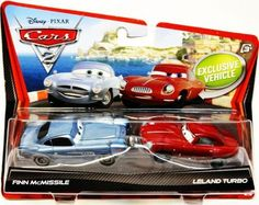 Disney / Pixar CARS 2 Movie 155 Die Cast Car 2Pack Finn McMissile & Leland Turbo by Mattel. $15.17. Comes in Assortment. Sorry, online customers may not pre-select characters. Cars 2 vehicles are shipped randomly from warehouse. Double your racing fun with an assortment of 1 - 55 scale die-cast vehicles featuring teams of two characters who share key scenes in the Disney Pixar film, Cars 2. Every pack includes an exclusive vehicle only available in the Cars 2 Ch...