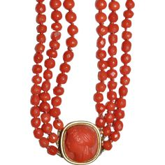 Antique Georgian (1790 to 1815) Carved Coral /18 kt Gold Triple Strand Portrait Necklace Salmon Coral Necklace Rare