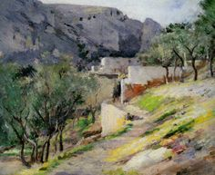 Capri by Theodore Robinson, Oil On Canvas Impressionist Landscape, Impressionist Artists, Landscape Paintings, Theodore Robinson, American Impressionism, Art Academy, Classical Art, Old Master, Art Techniques