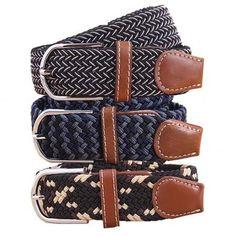 BMC Mens Wear 3pc Stretchy Woven Adjustable Belt Set - Conservative Adventurist