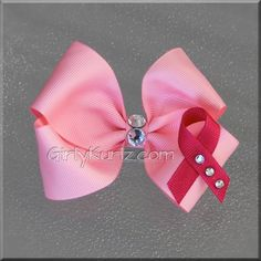 Pink Breast Cancer Awareness Hair Bow by GirlyKurlz on Etsy, $6.15