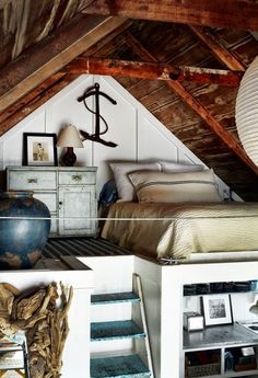 attic room of my dreams     Attic bedroom with a great view     Attic Bedroom: I love the natural wood and the chandelier combination     ...