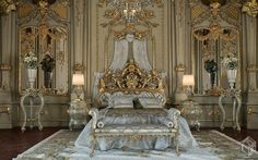 Royal Gold Bedroom Set Carved With King Size Bed - Top and Best Italian Classic Furniture