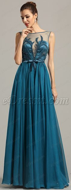 New Sleeveless Embroidered Blue Evening Dress Formal Gown