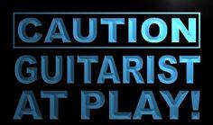 m577-b Caution Guitarist at Play Neon Light Sign #AdvProSign