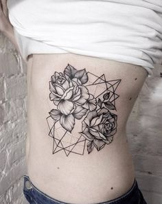 Geometric Rose Tattoo on Ribcage by Dasha Sumkina
